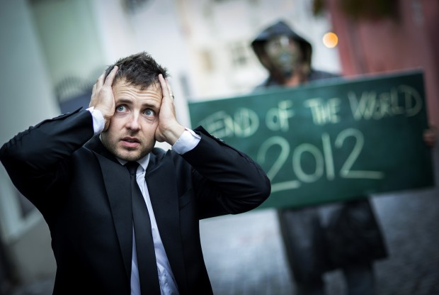 Man worried about 2012 doomsday prophecy - Stock photo